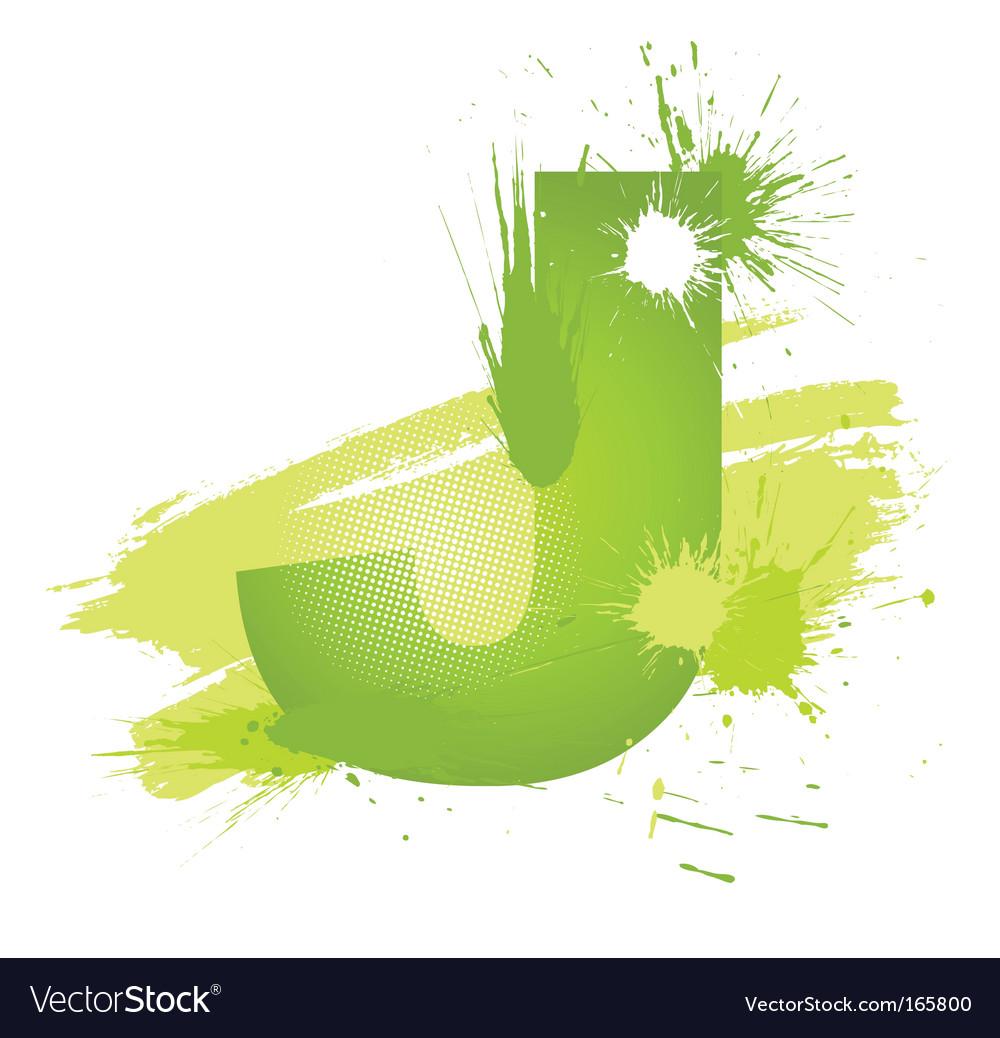 Paint splashes font letter j vector