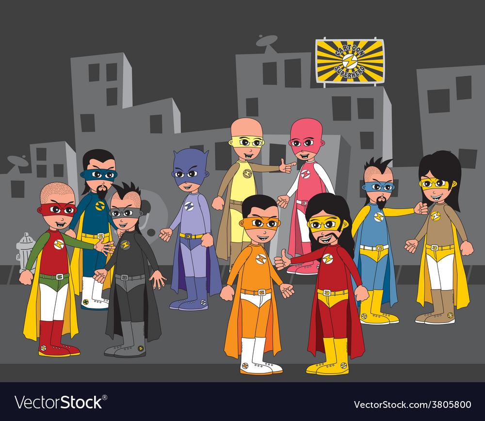 Superhero cartoon theme vector