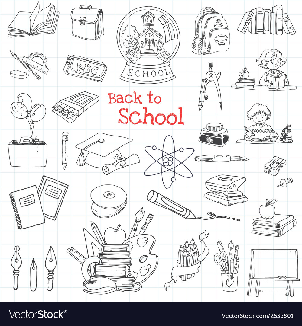 Back to school doodles - hand-drawn vector