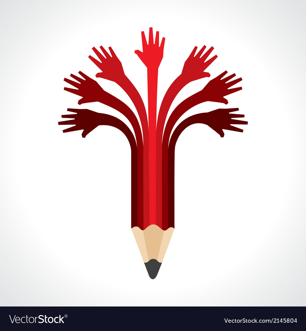 Helping hands make pencil vector