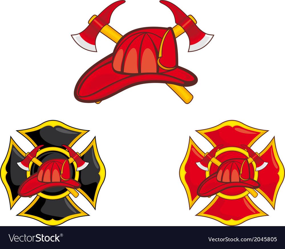 Firefighters symbols vector