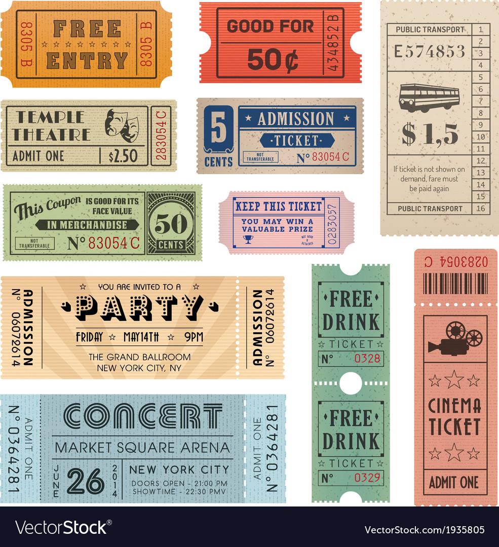 Grunge ticket set2 vector