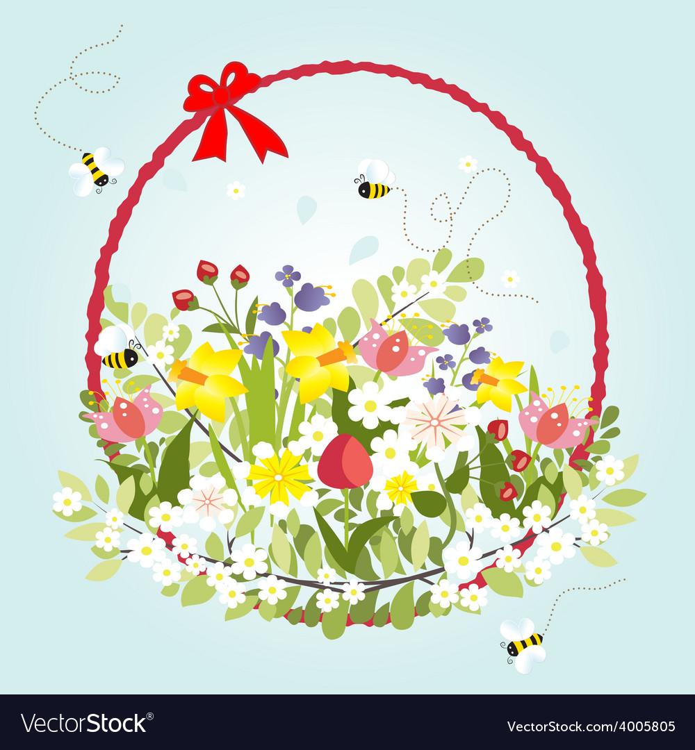 Spring floral blossom love vintage cartoon bee vector