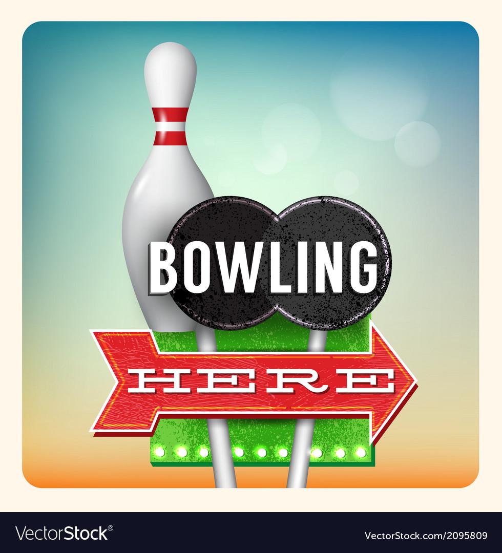 Retro neon sign bowling vector