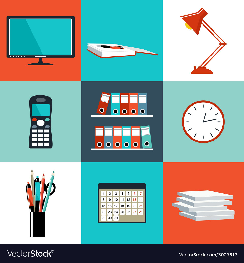 Set of office things vector