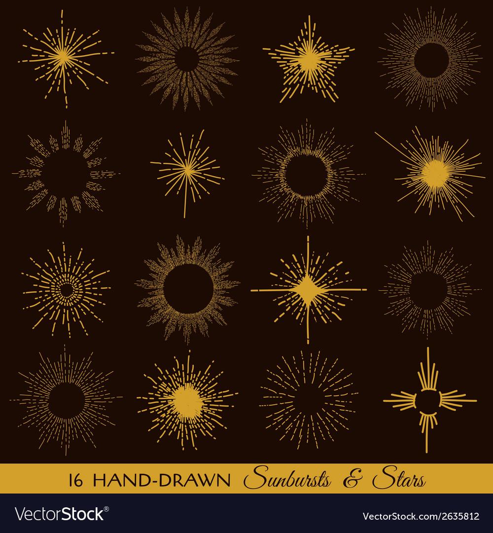 Sunbursts and stars - hand-drawn vector