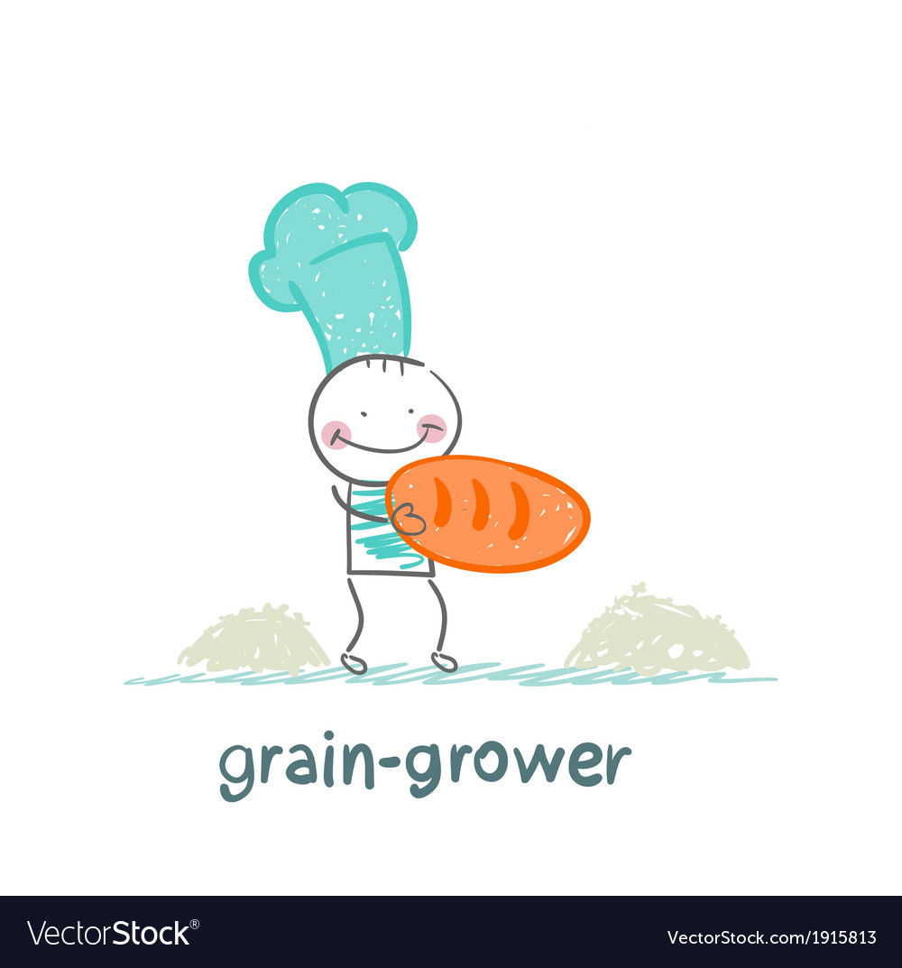 Grain grower stands next to the bread vector