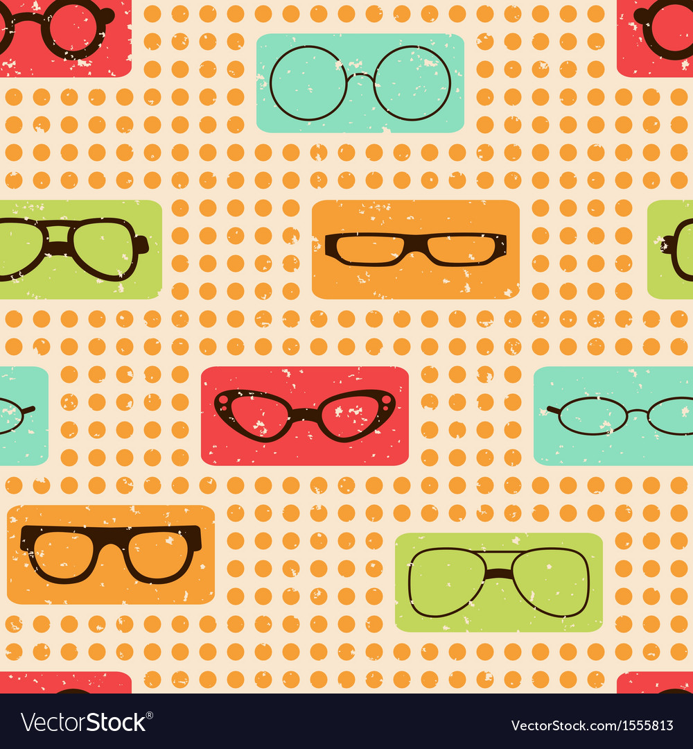 Seamless color retro pattern with glasses vector