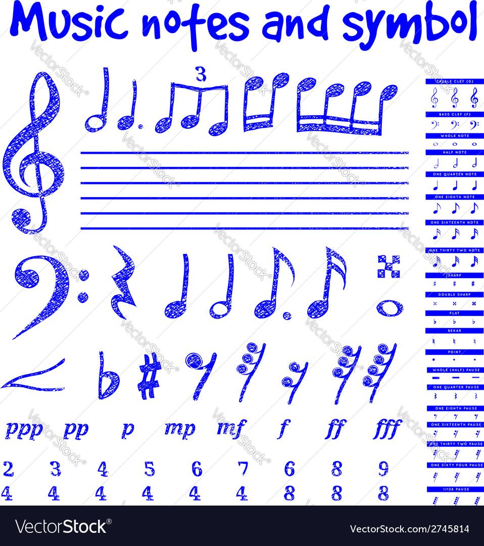 Handwritten musical notes vector