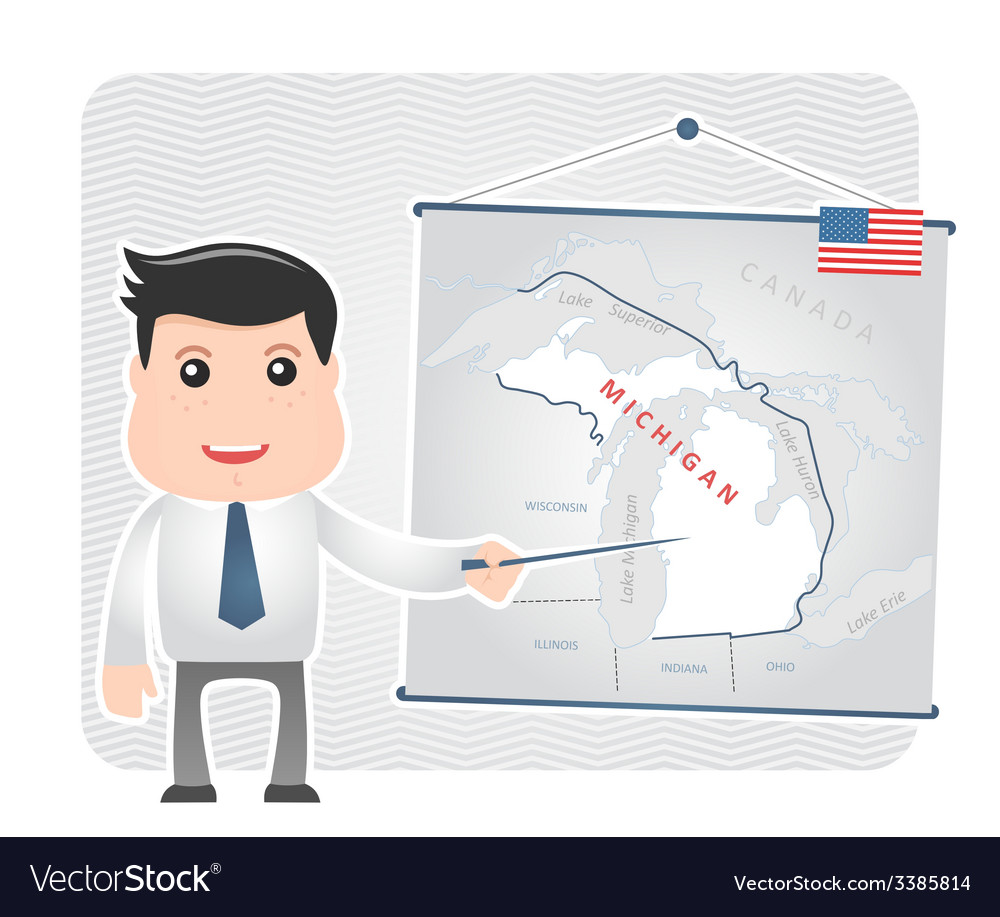 Man with a pointer points to a map of michigan vector