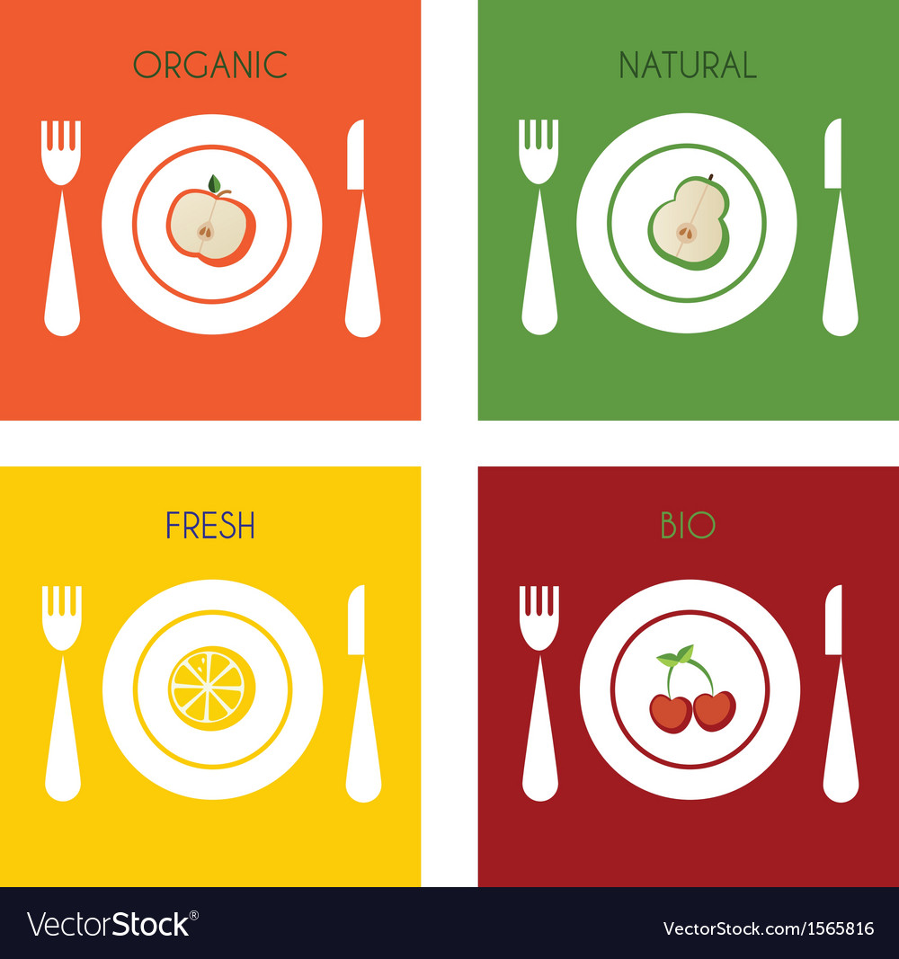 Summer set of organic and fresh fruits on plates vector