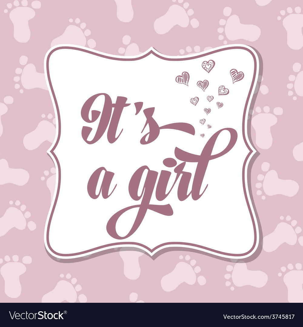 Baby girl invitation for baby shower vector