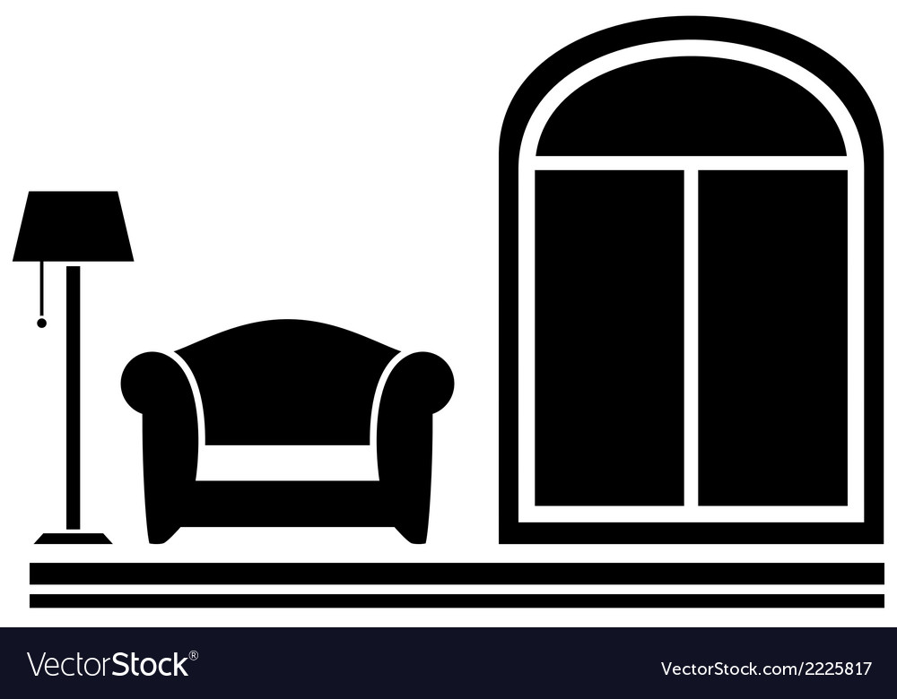 Interior icon with armchair floor lamp and window vector