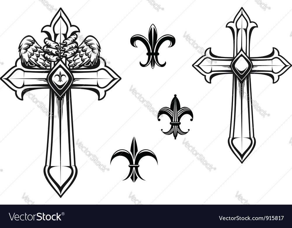 Vintage stone cross with heraldic elements vector