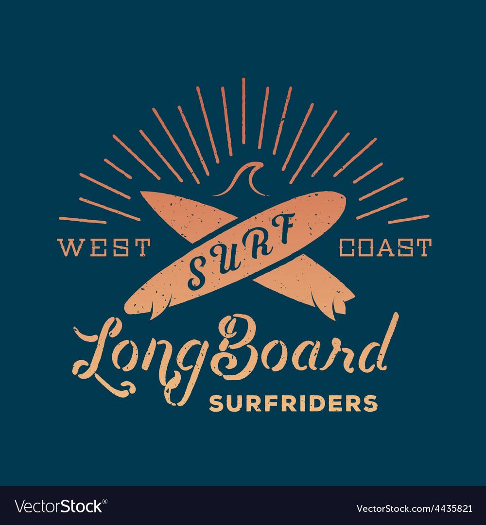 Long board surf riders abstract retro label vector