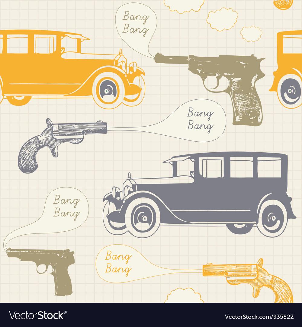 Retro mobster crime pattern vector