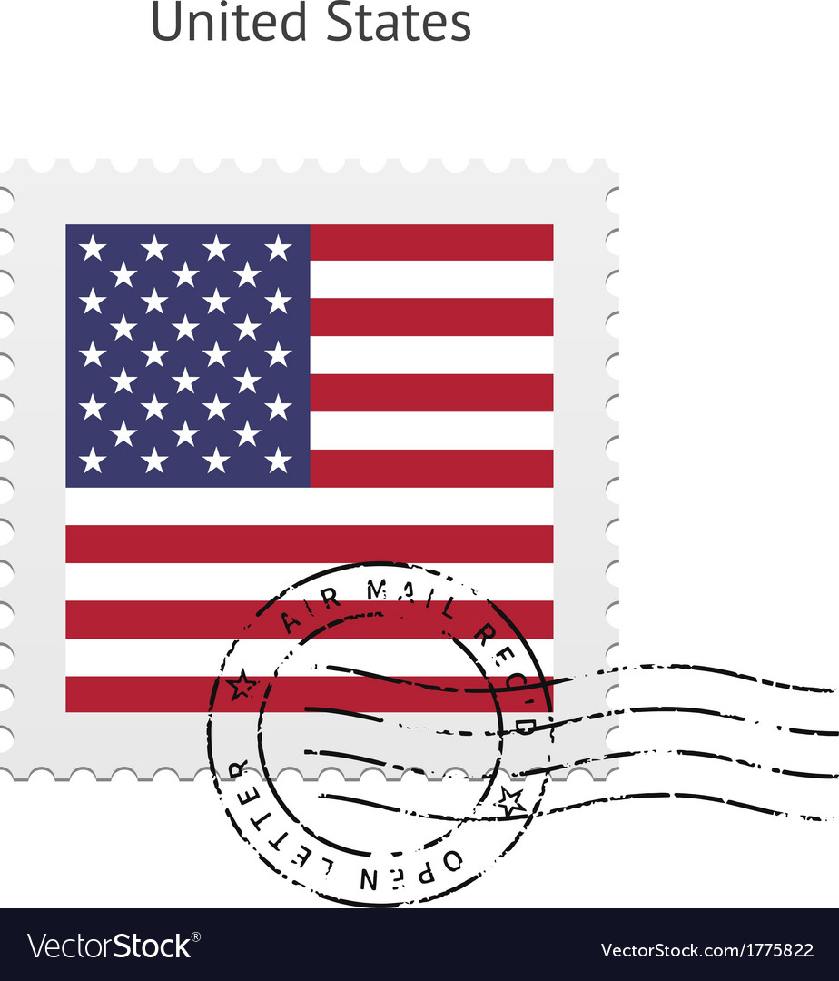 United states flag postage stamp vector