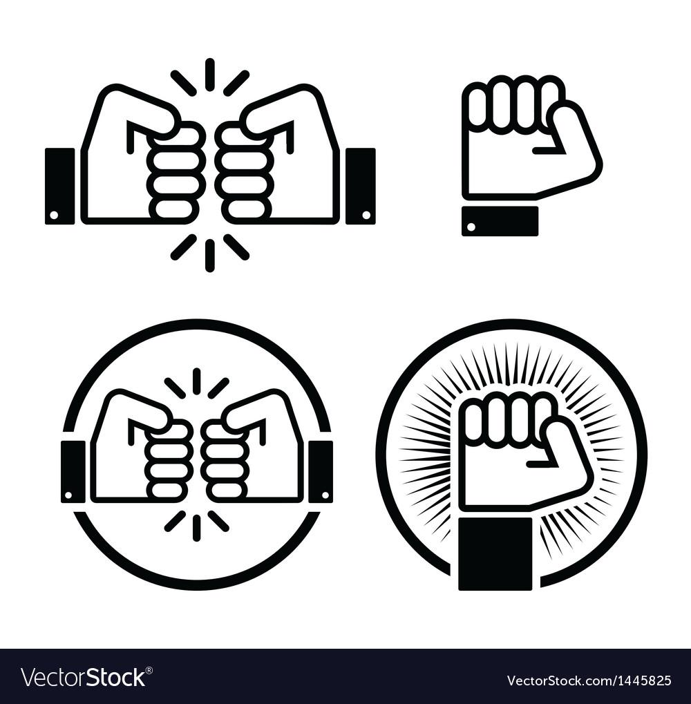 Fist fist bump icons set vector