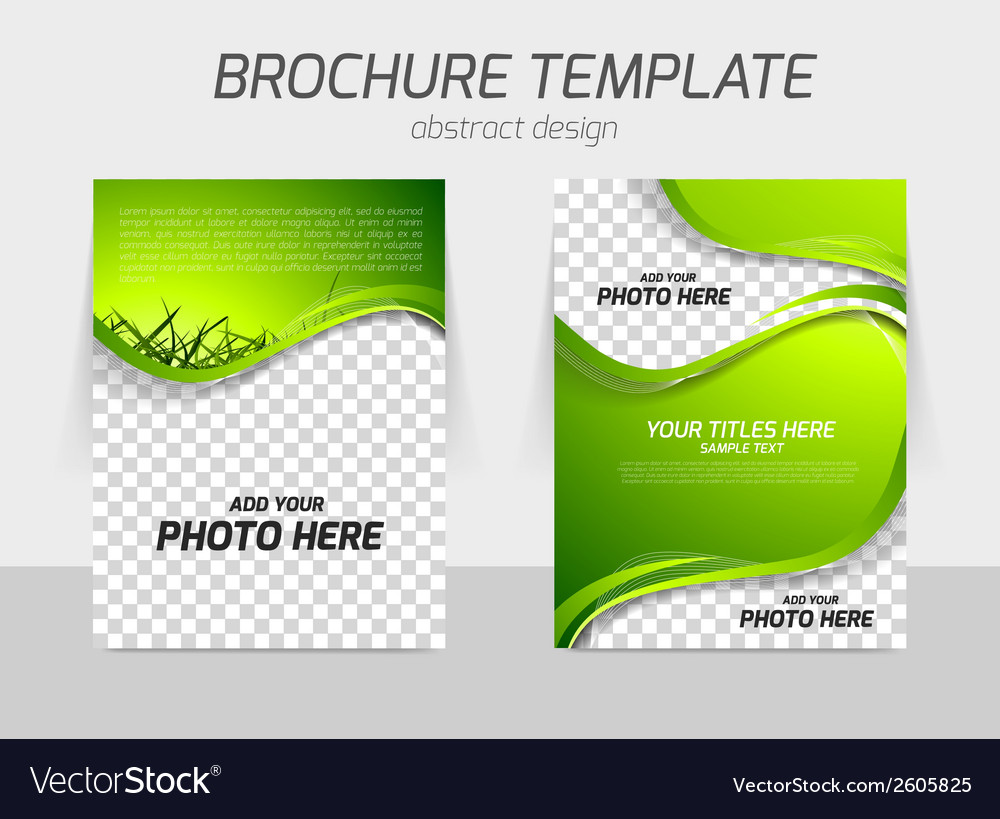 Green grass wave brochure vector