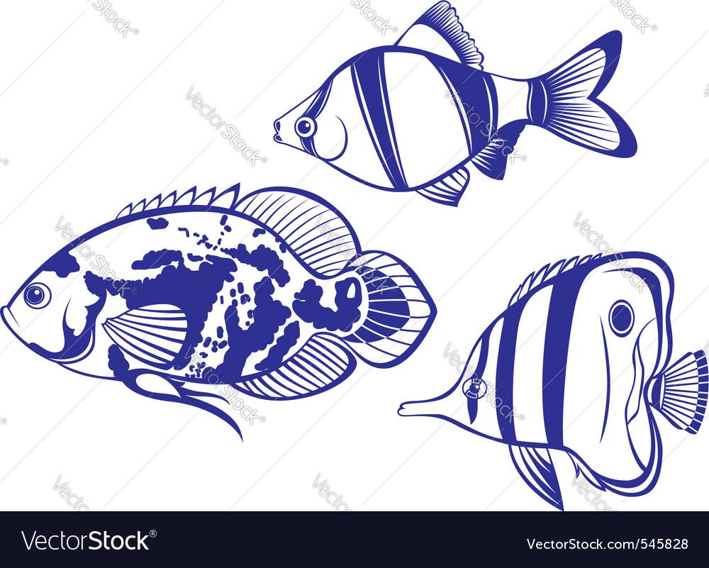Tropical fish set vector