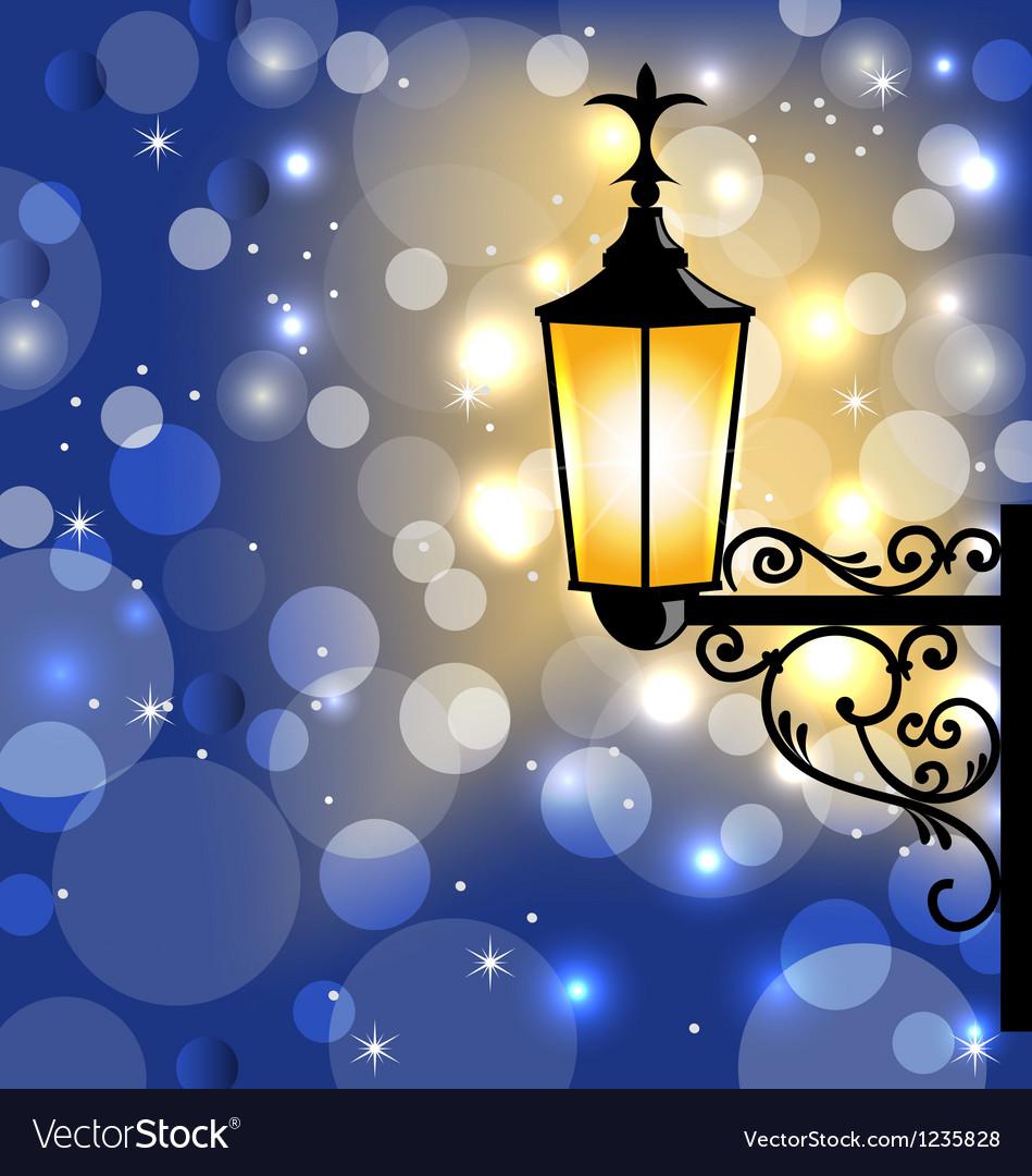 Vintage street lamp dark winter background vector