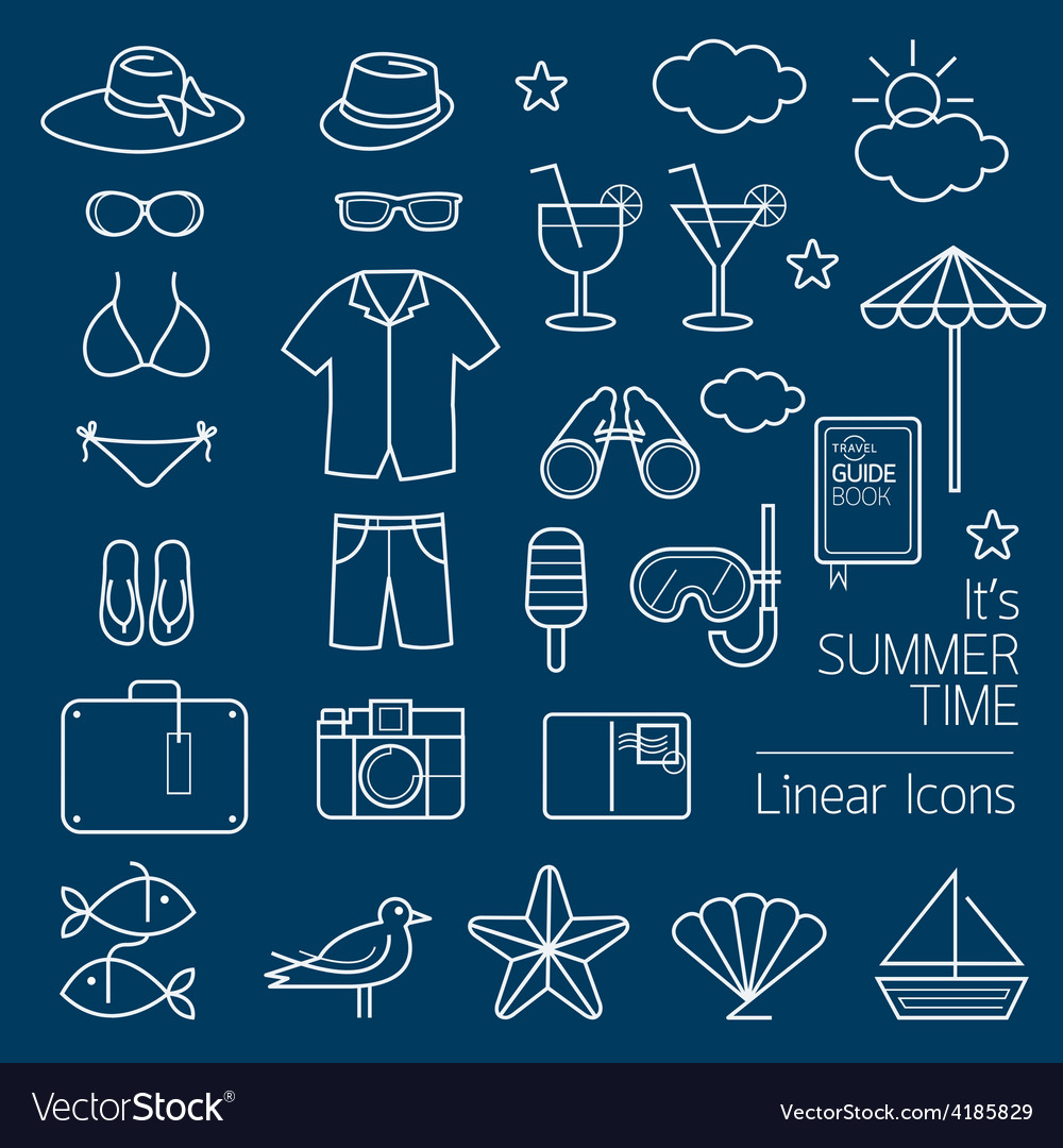 Summer objects linear icons set vector