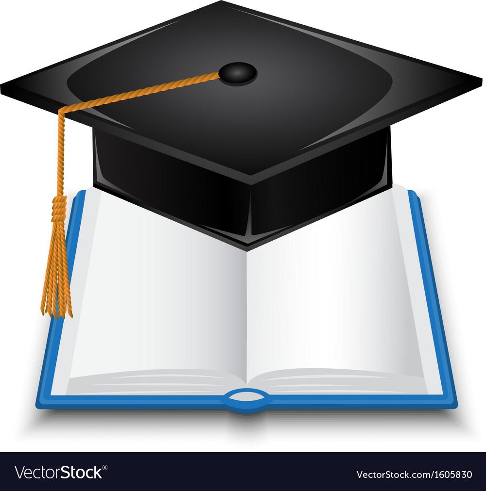 Book and graduate cap vector
