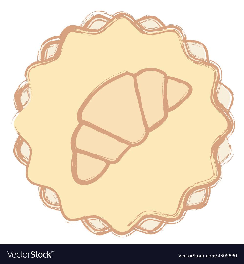 Single croissant icon vector