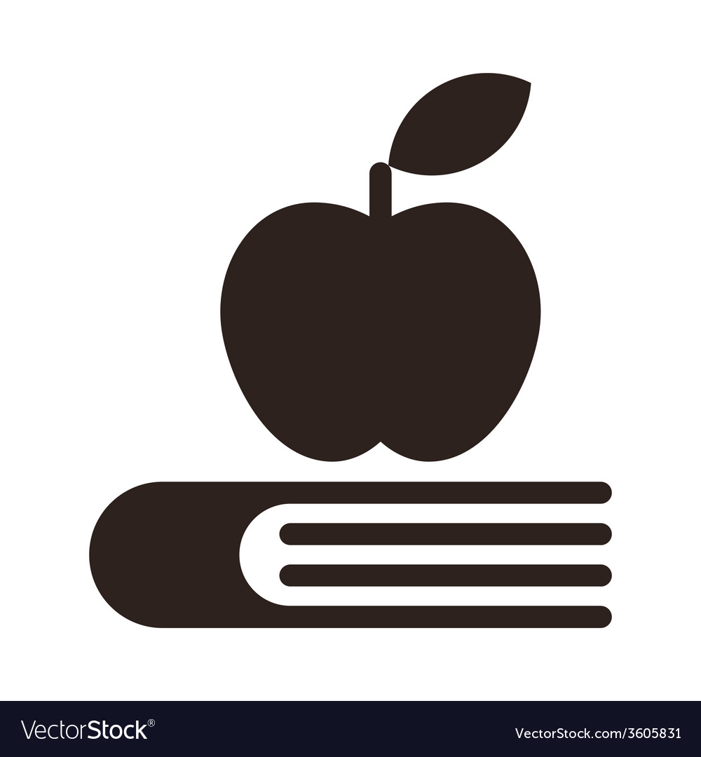 Apple on a book - education symbol vector