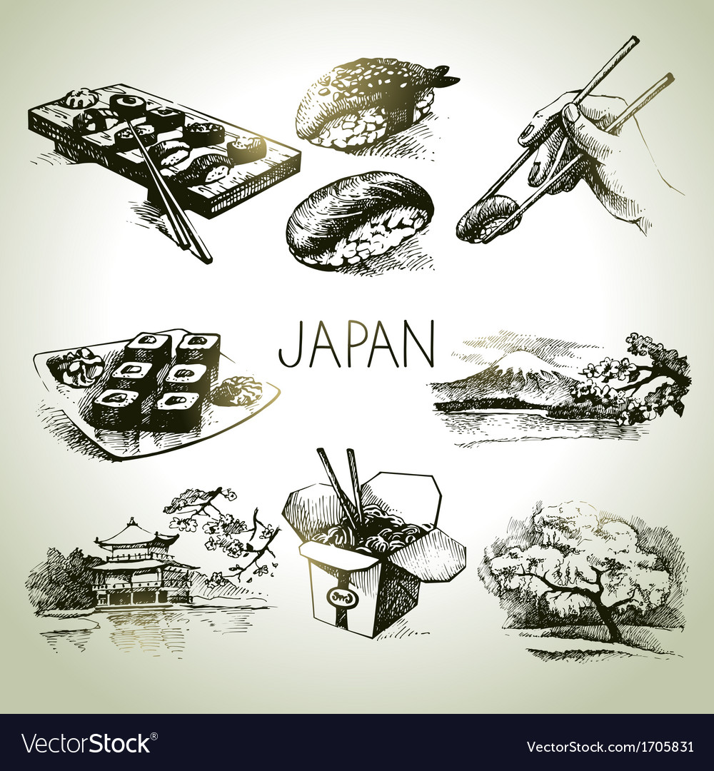 Hand drawn vintage japanese set vector