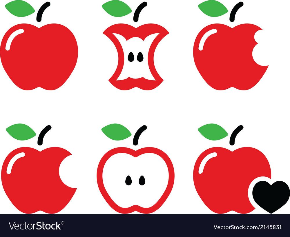 Red apple apple core bitten half icons vector
