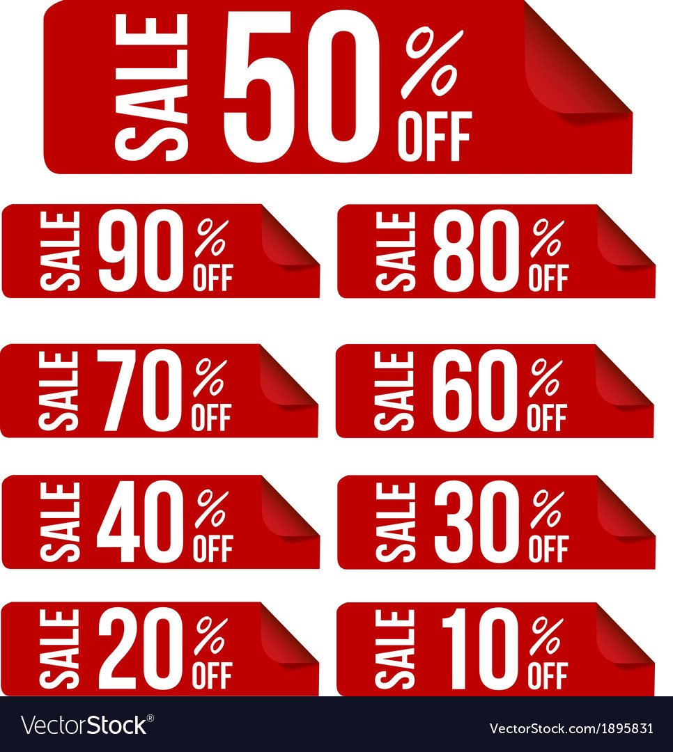 Sale percent sticker price tag flat design vector