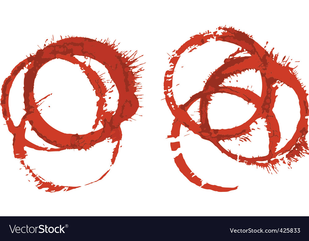 Grunge red wine glass stains vector