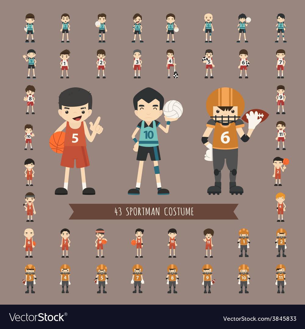 Set of 43 sportman costume characters vector