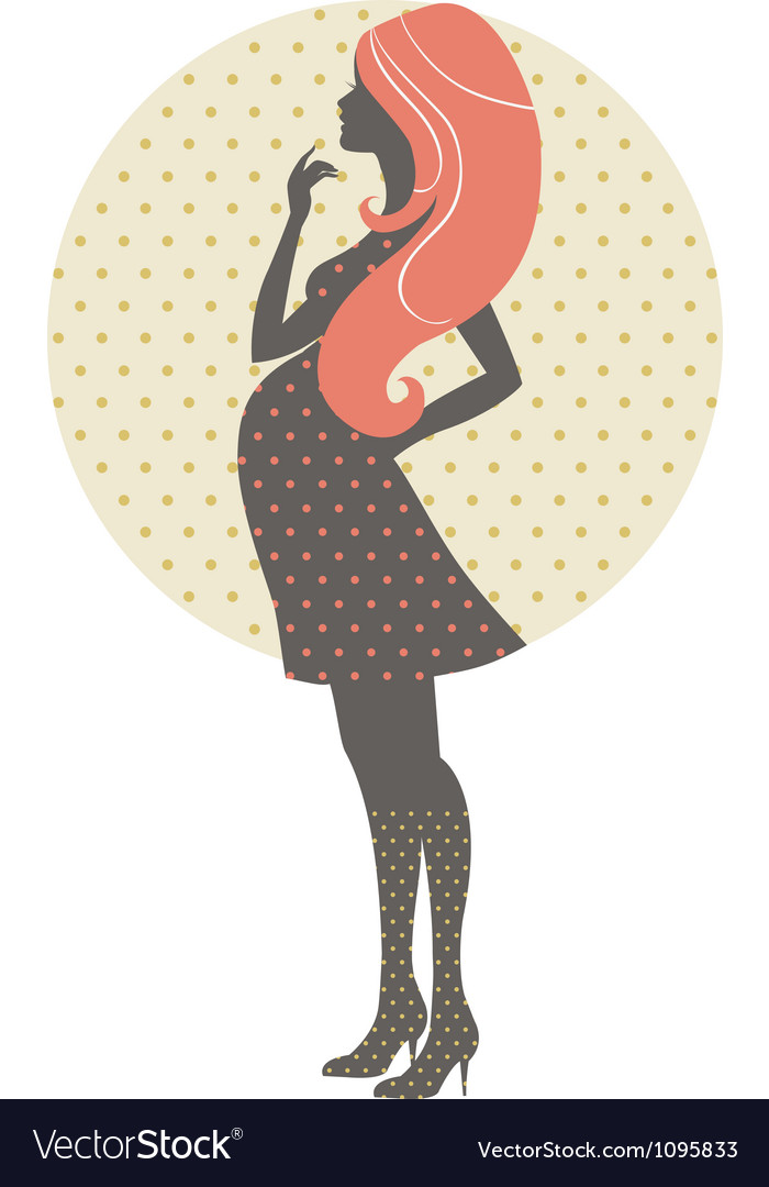 Silhouette of pregnant woman in retro style vector