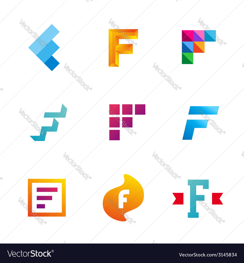 Set of letter f logo icons design template vector