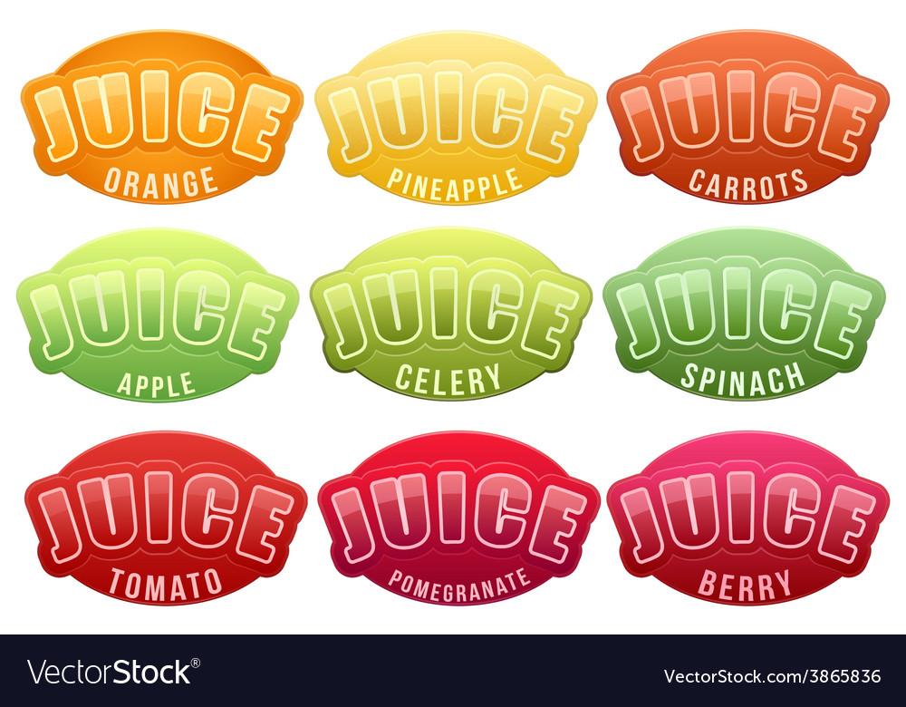 Set of labels juice bright premium design vector