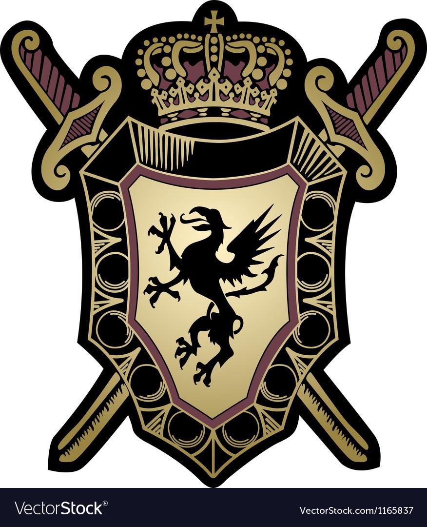 Griffin classic emblem badge shield vector