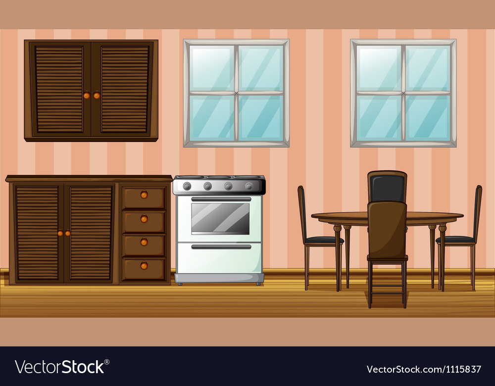 Wooden furniture in a room vector