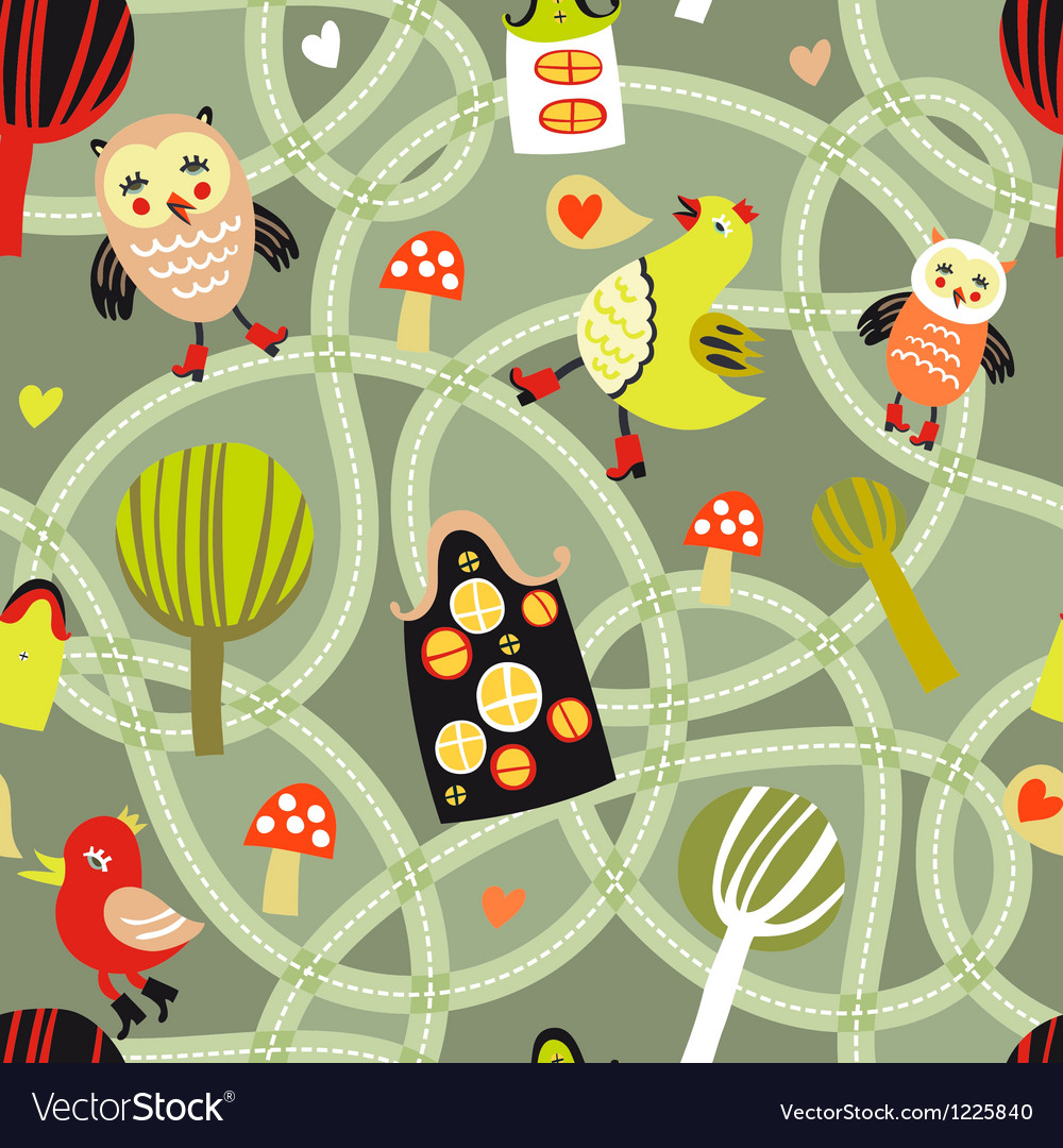 Road seamless pattern with houses and birds vector