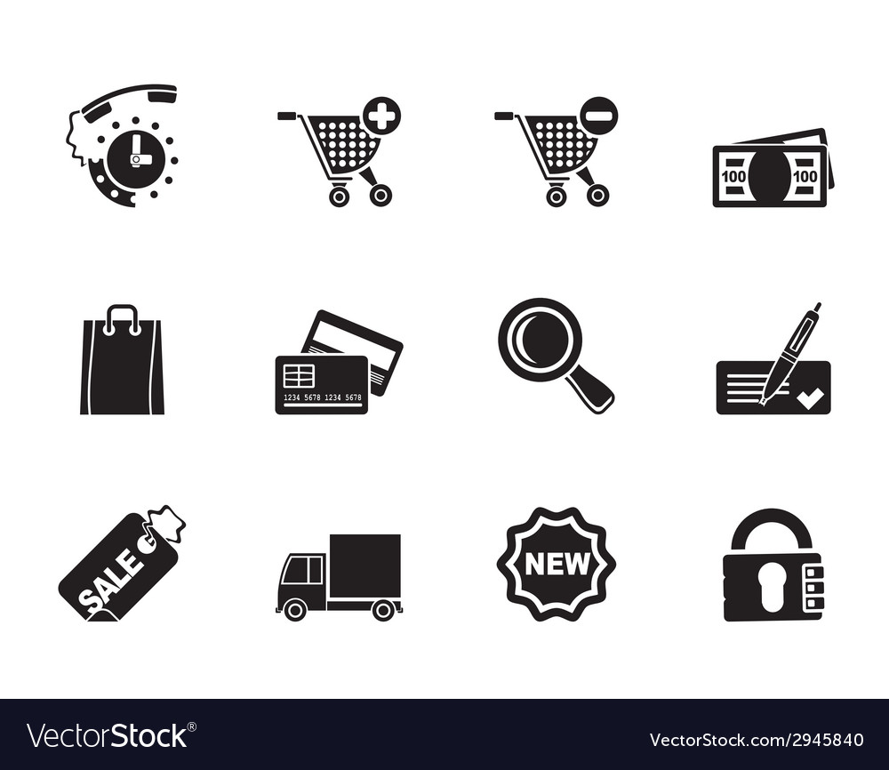 Silhouette internet icons for online shop vector