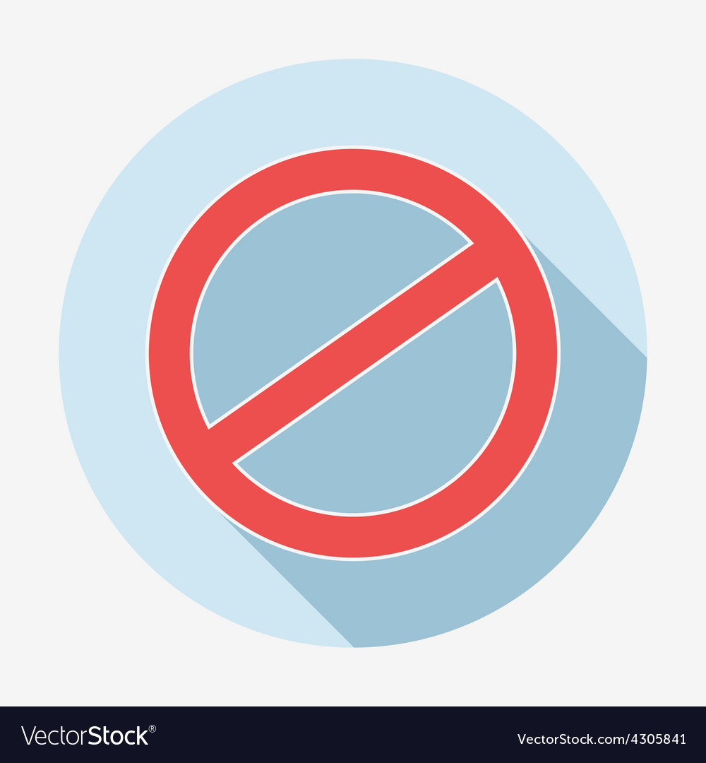 Single flat deny icon with long shadow vector