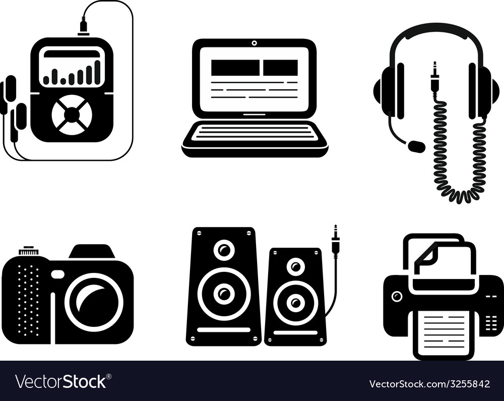 Icons in black for multimedia and office devices vector