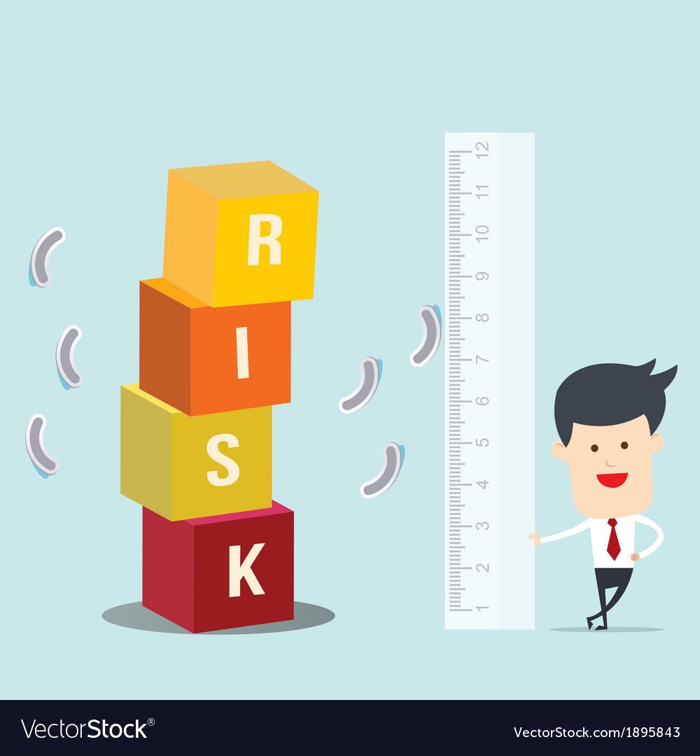 Business man use ruler measure risk block vector