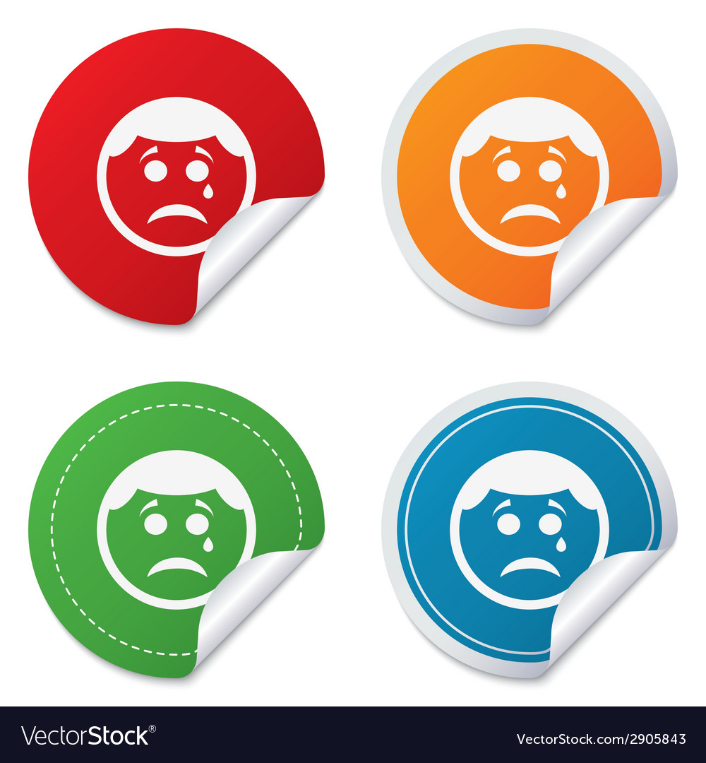 Sad face with tear sign icon crying symbol vector