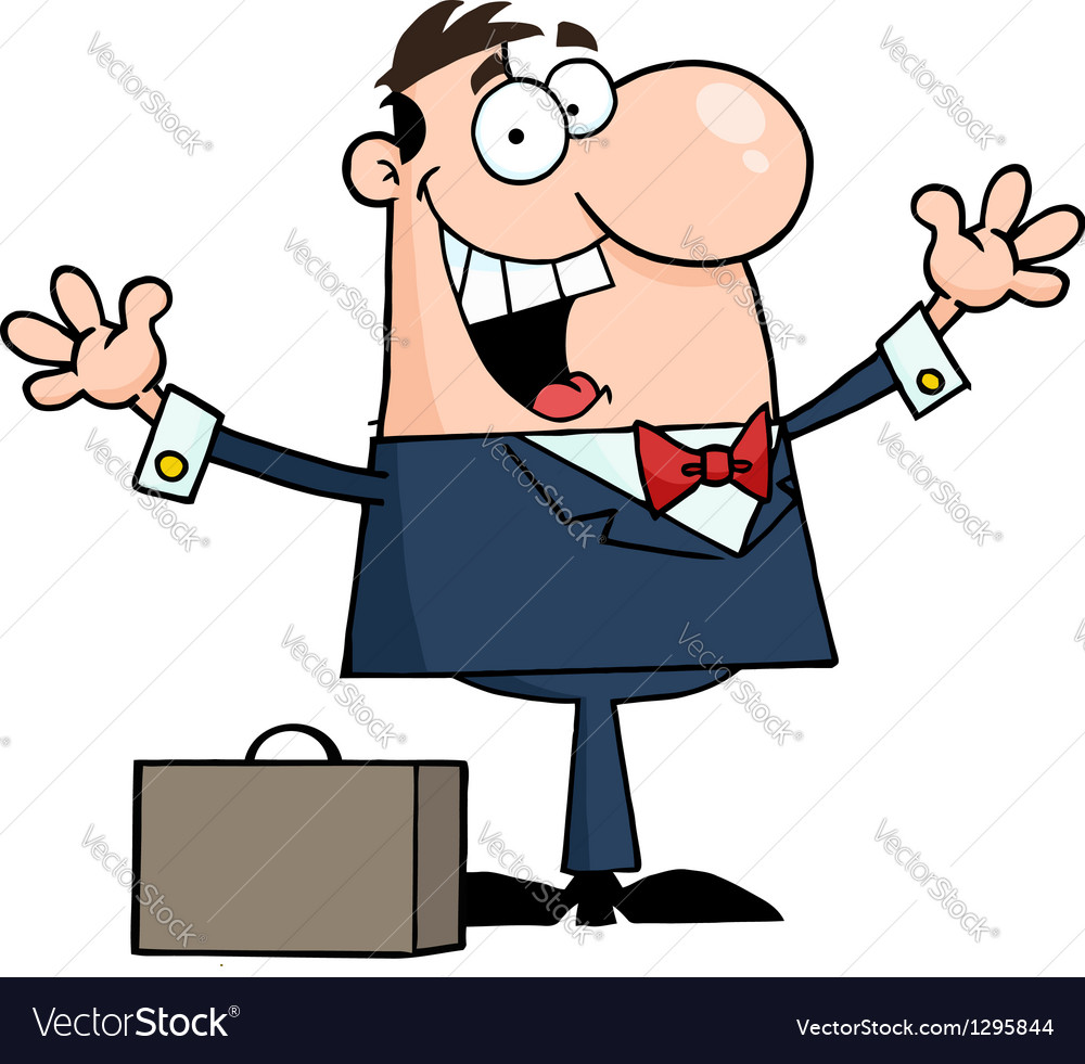 Businessman holding his arms up by a briefcase vector