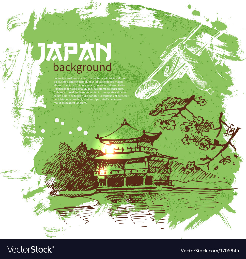 Hand drawn vintage japanese sushi background vector