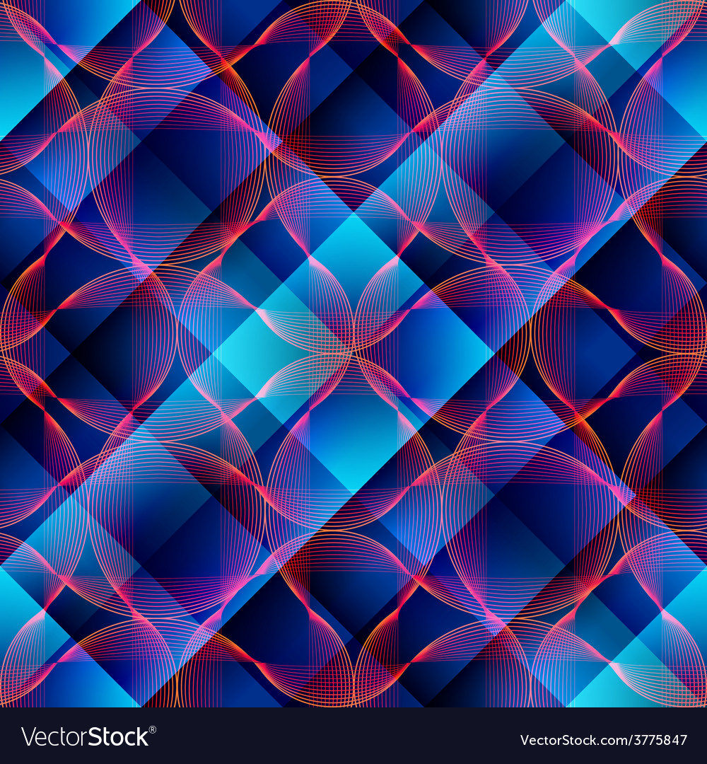 Abstract waves on plaid background vector
