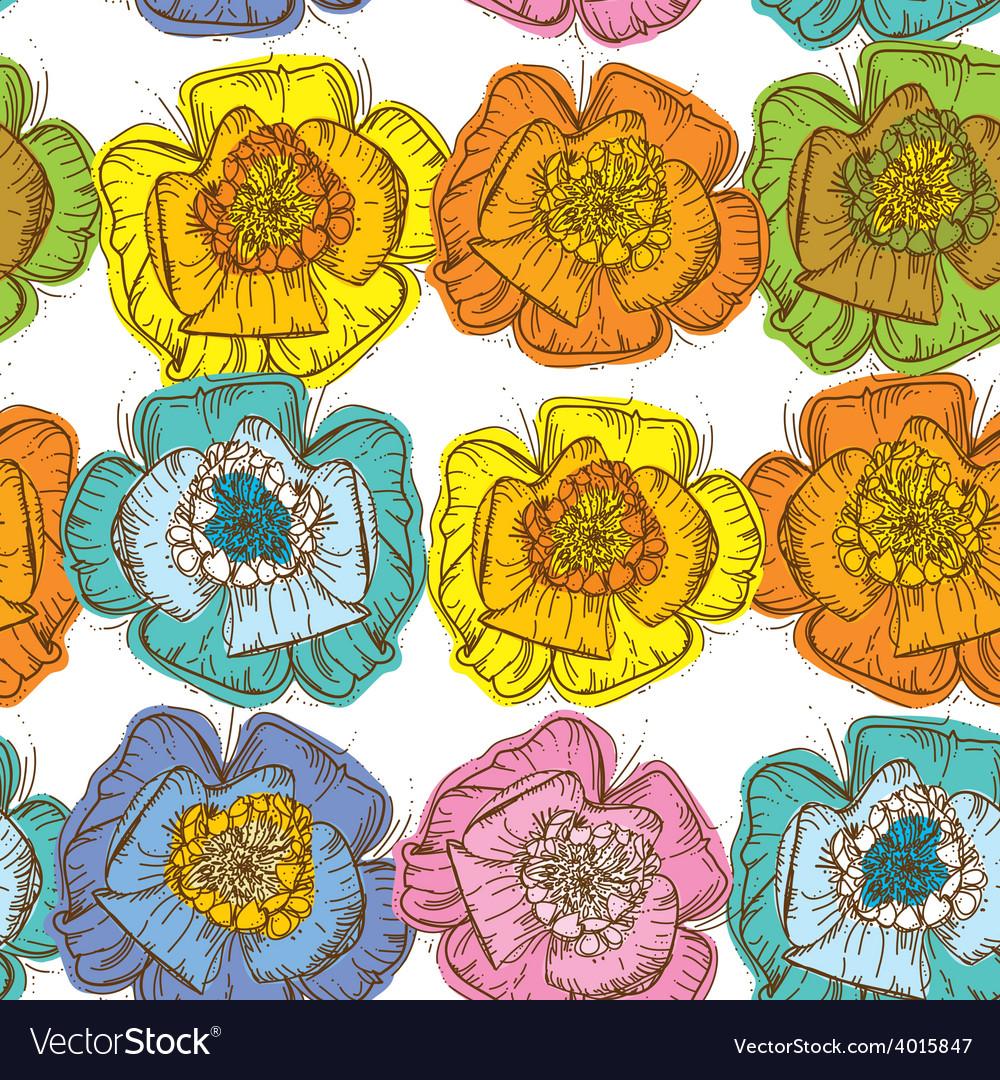 Elegance seamless pattern orange blue yellow pink vector