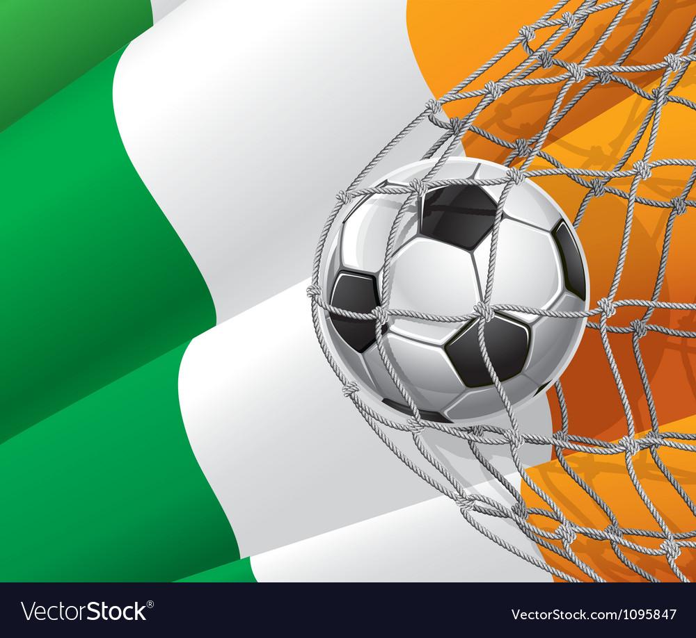 Soccer goal and ireland flag vector